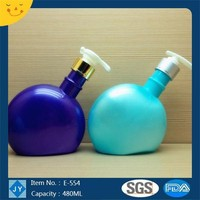 480ml 16oz new colorful long- neck diagonal flat plastic containers family bottle for shampoo, body gel