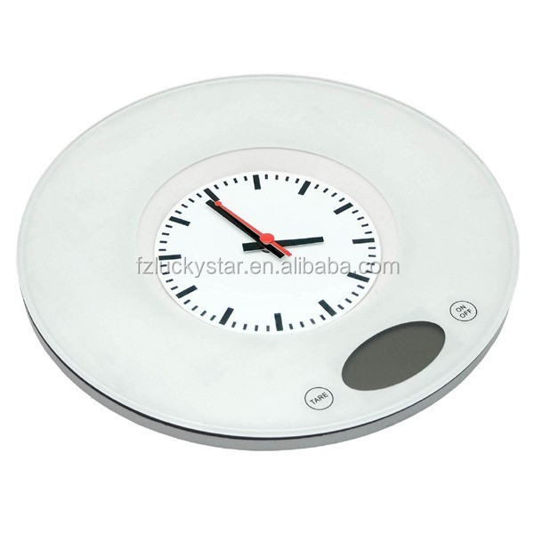 Modern design with wall clock digital weighing scale