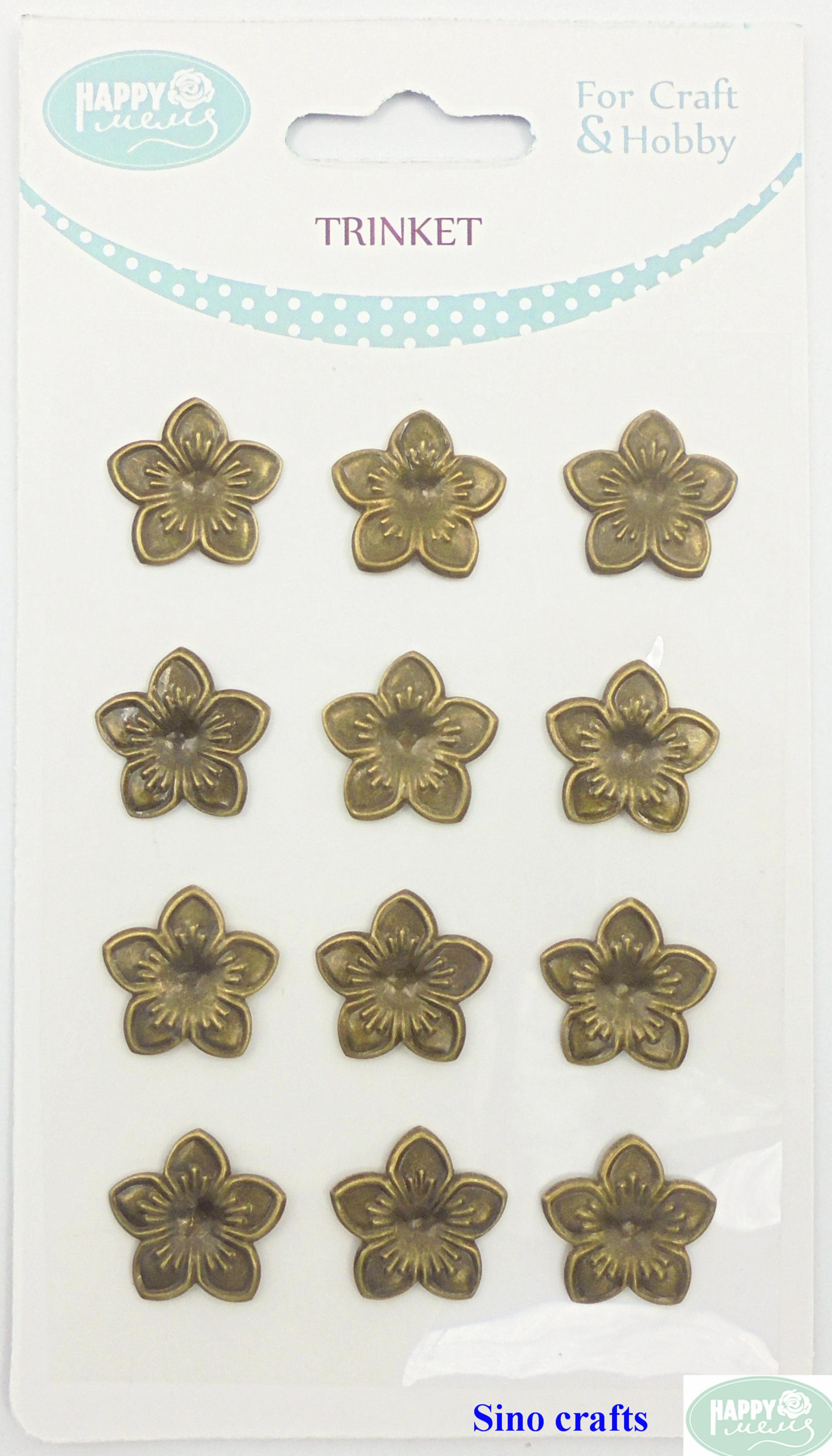 12 pcs bronze vintage iron setting wholesale trinkets decorative custom metal flower
