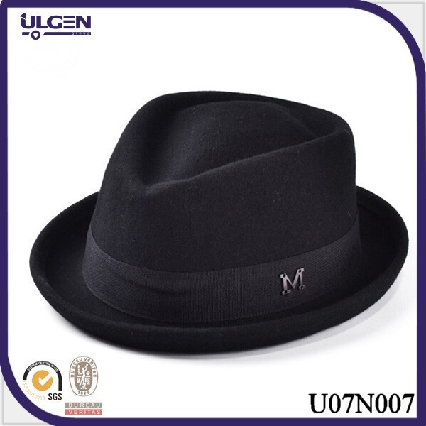 Wholesale gentlemens wool felt wide brim fedora hat mens wool hat wide brim black hats