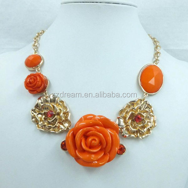 Trendy Exaggeration Resin Flower Chunky Statement Necklace Yiwu Jewelry