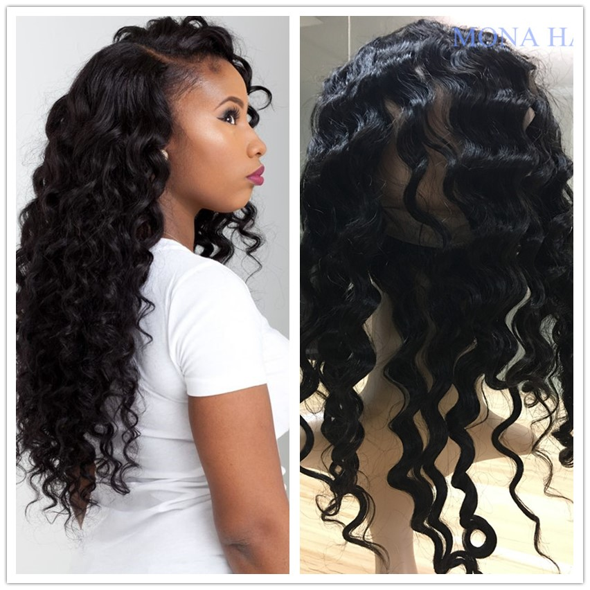 Natural color deep wave virgin human hair 360 lace frontal with bundles