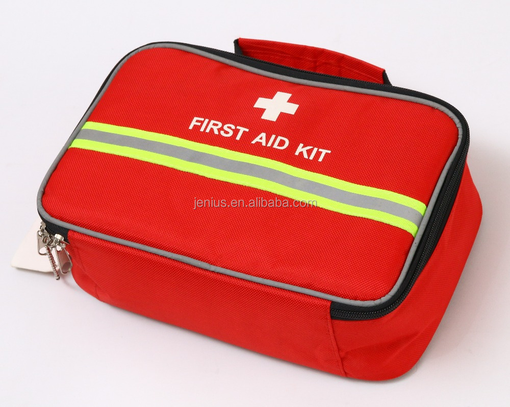 Auto car roadside emergency first aid kit with reflective strip