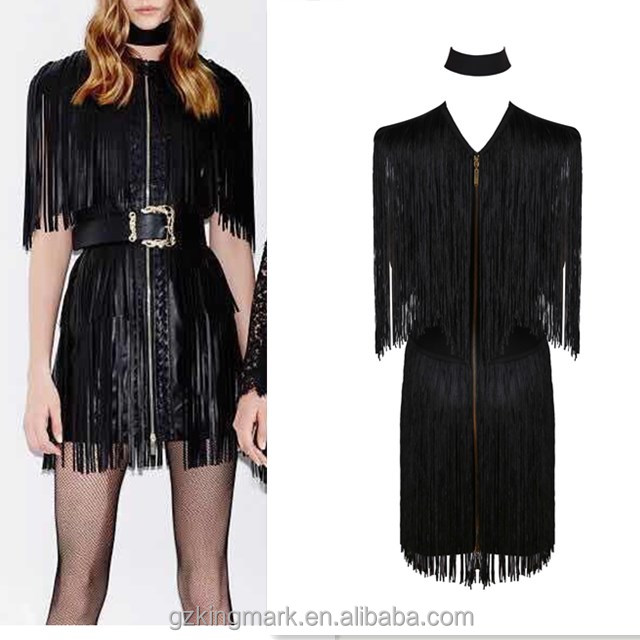 New fashion women bandage tassels sexy club dress pron 2016 nightclub wear