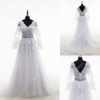 RP0171 V neck sexy see through corset transparent alibaba half sleeve lace wedding dress crystal belt real wedding dress 2016