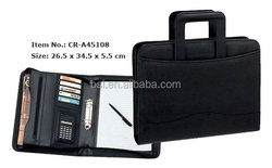 satationry products black zipper leather a4 conference folder with handle/conference portfolio with 2 hole ring binder