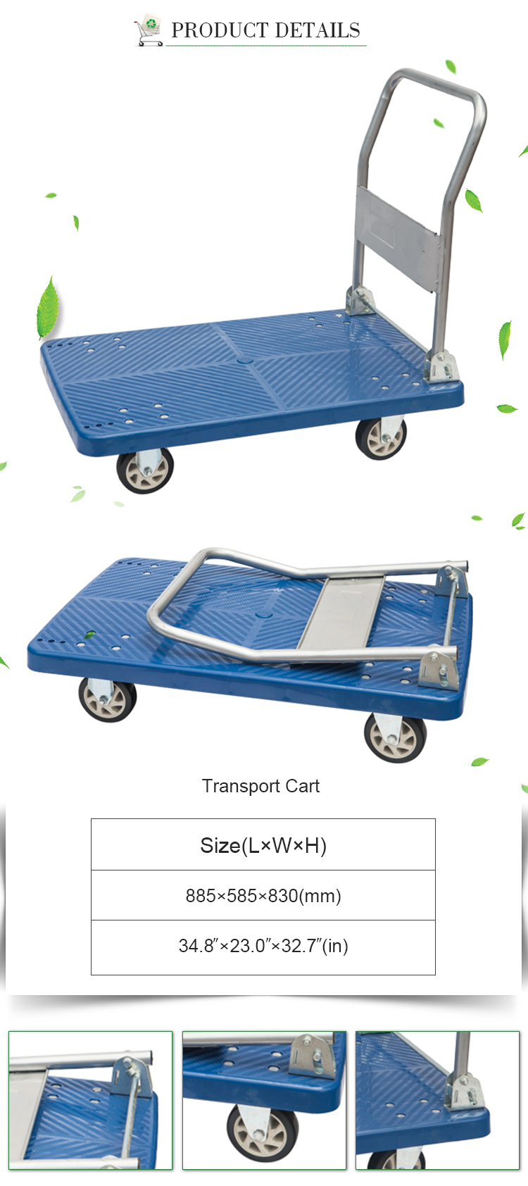 Low price grocery hand carts truck Transport Flat Wagon Cart