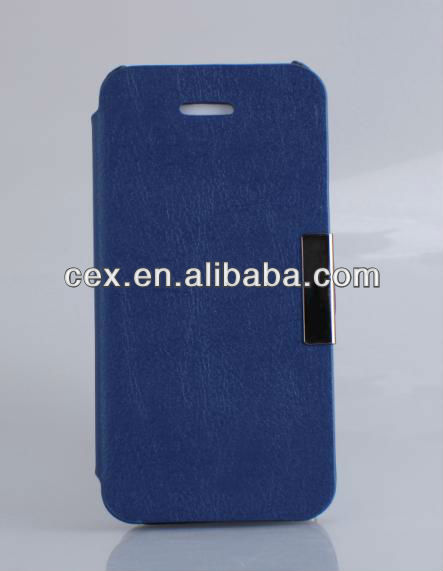 For Apple iPhone 5 Great Protection Flip PU Leather Blue Case