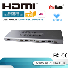 SK-SP2018S2 2.0v 8 way 1x8 hdmi splitter support Ultra HD 2k/4k 3D,1080P, EDID, tv hdmi
