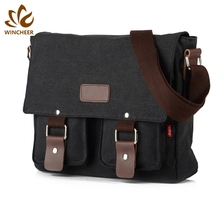 New design detachable adjustable shoulder strap briefcase vintage messenger bags blank canvas crossbody bag