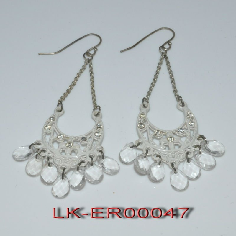 2012 fashion style chain casting and acrylic beads earring jewelry