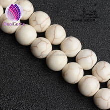 High quality polished round natural stone white howlite beads 14mm