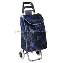 RW6005G China Shopping Bag Factory Supply Black Rose Words Pattern Vegetable Trolley Shopping Bag With 2 Wheels