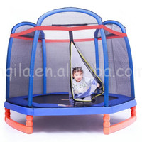 7FT Trampoline Bounce Jump Safety Enclosure Net W/ Spring Pad Round outdoor gymnastics trampoline