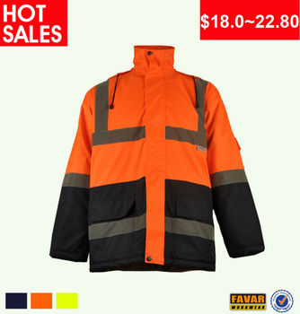 Two tone waterproof jacket for man 3M hi vis reflective safety work jackets