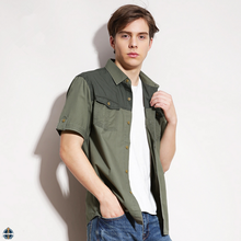 T-MSS014 Solid Color Pattern Short Sleeve Double Pocket Male Shirt Mens