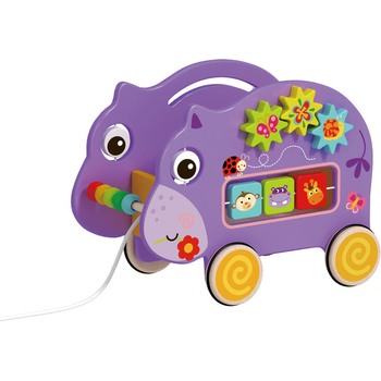 Pull Along Hippo Toy Sorting Wooden Pull String Toy