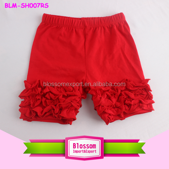 Cheap Wholesale Solid Color Toddler Girls Icing Shorts Soft Kids Cotton Ruffled Icing Shorties