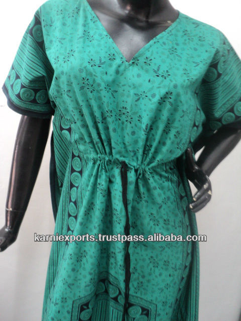 Exotic cotton Kaftans & gowns printed Sexy womens Nighties & gowns Beautiful garments manufacturer in india