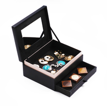 High quality faux leather Wooden box wooden trinket box for lady