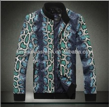 2014 latest design picture blank t-shirt with leather sleeves men's coat
