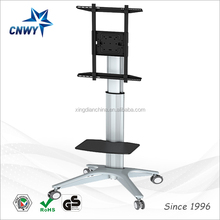 "Hot sale plasma lcd tv stand mount with wheels and dvd holder /Fits Monitors 32"" to 65""/ Height Adjustable"