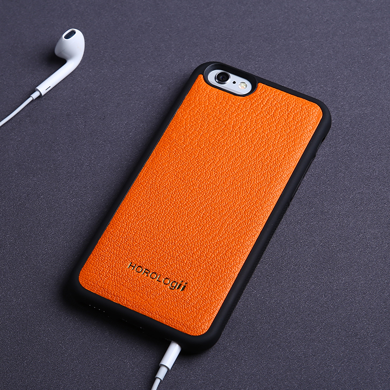 High quality luxury orange real leather cell phone case