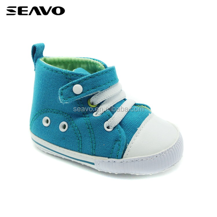 SEAVO SS18 comfortable canvas upper design hook and loop style blue baby boy newborn shoes