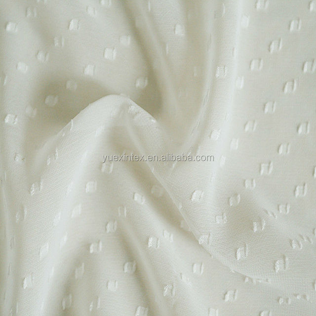 polyester clipped square pattern 75D chiffon dresses fabric
