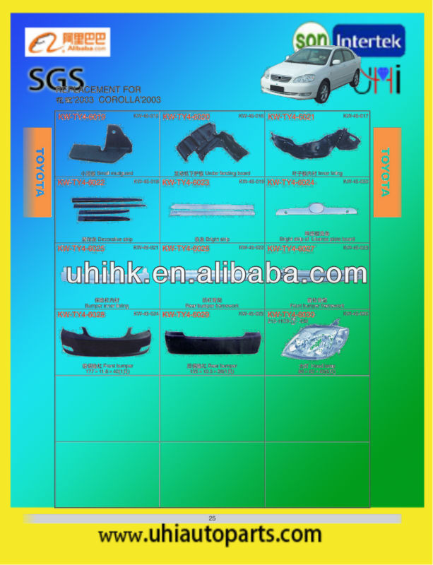 Car strips inner lining bumpers headlamp etc body parts for toyota corolla 03