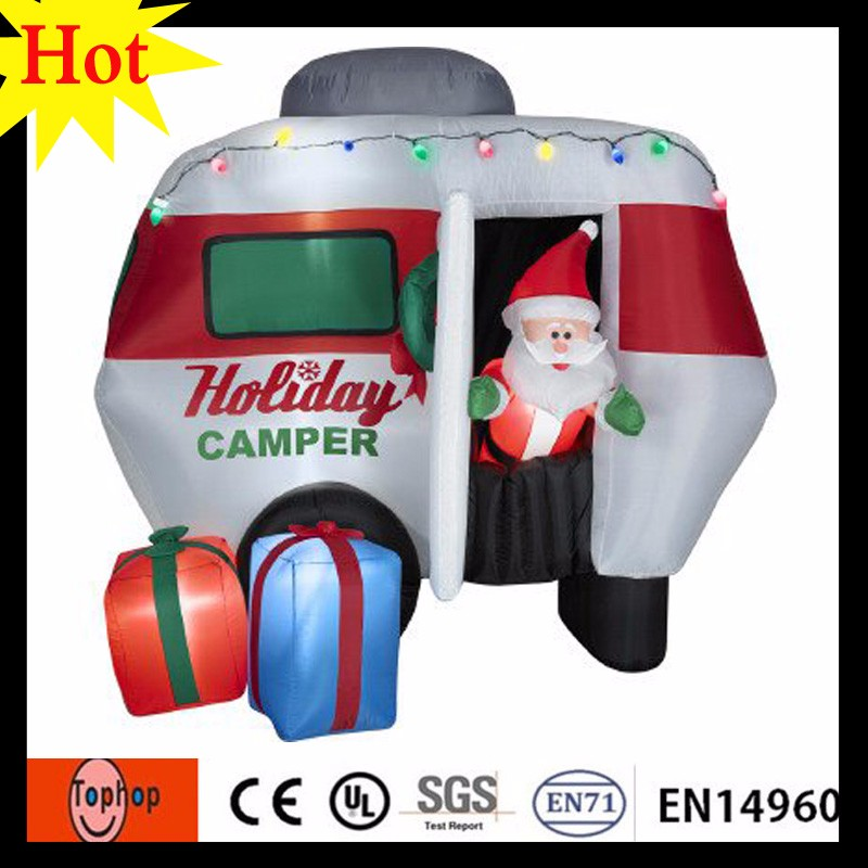moving small christmas inflatable santa claus with beard holiday camper gift