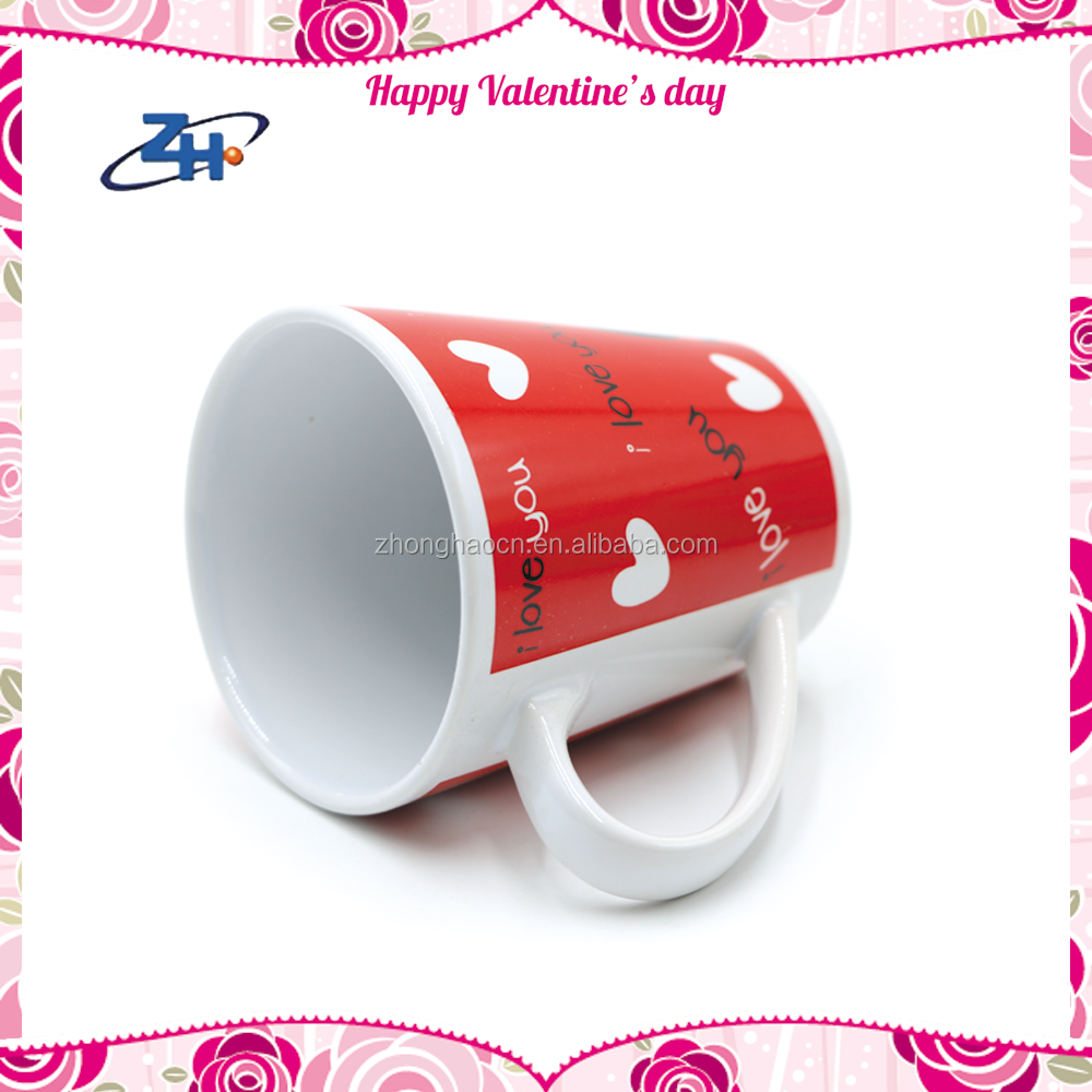 Crazy Selling Red Decal Ceramic Valentines Day Promotion Mugs