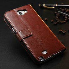 Wholesale best selling products special design retro style crazy horse leather flip unique phone cases for samsung galaxy note 2
