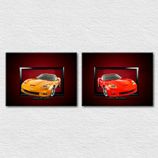 Modern fashion painting colorful car canvas pictures for bedroom