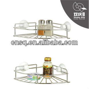 kitchen bathroom plastic metal corner basket shelf with suction cup