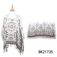 Toros wholesale hand knitting fashion cotton floral printed poncho shawl with tassels