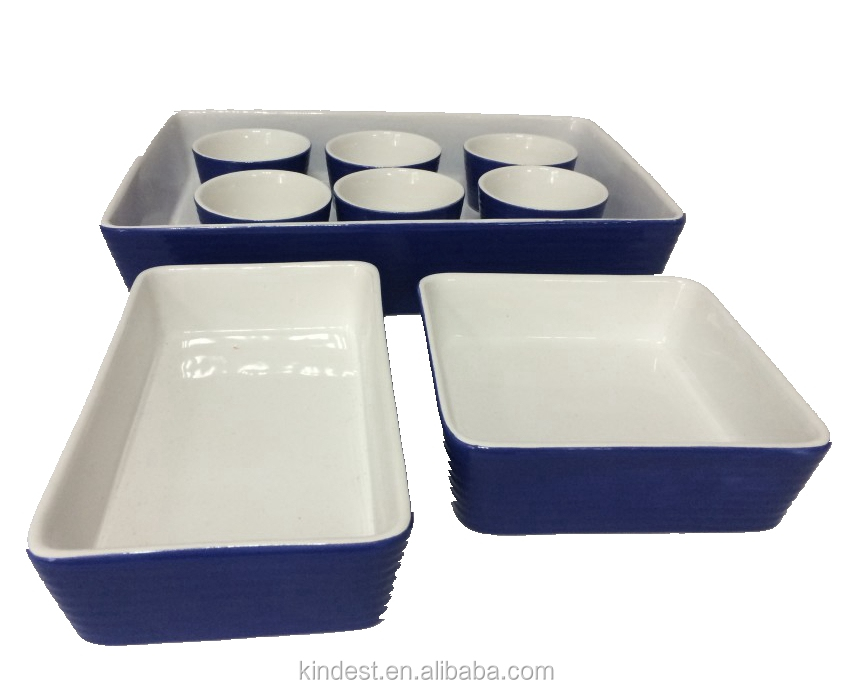 Square ceramic stoneware oven safe baking tray bakeware with ramekin