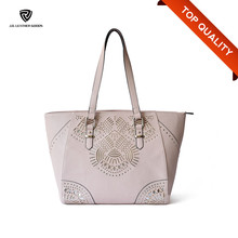 Direct Factory Hotsale Cheap PU Tote Lady Bag with Hollow Texture