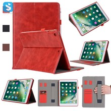 Factory Price Hand Strap PU Leather Cover with Card Slot for iPad 9.7 Case