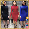 2016 Best selling rollneck collar fashion western latest dress designs for ladies