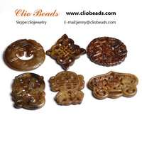 The traditional Chinese style / Dyed New Jade Carved Pendants, Mixed Shape