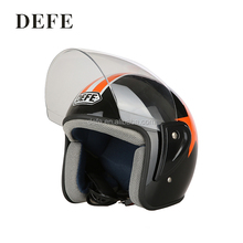 Fashionable double visor half face black motorcycle driving helmets