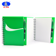 Plastic cover pocket spiral bound notebook with pen