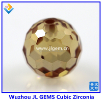 Loose ball shape Champagne Round Synthetic CZ Beads