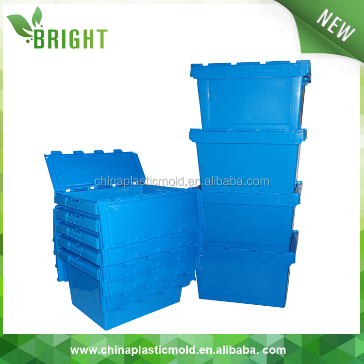 50kgs Security Storage Plastic Moving Tote Crates With Hinged Lids