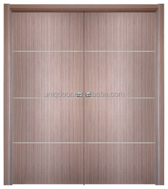 Double swing customized internal flush doors design with alluminum strip