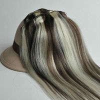 "10g/pcs Brazilian huamn hair clip in real human hair extension color #4-613 16"" 40cm 7pcs/Set"
