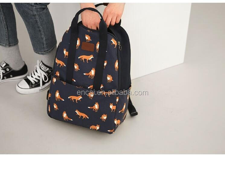 Encai Waterproof Leisure Backpack Floral Printing Student Backpack