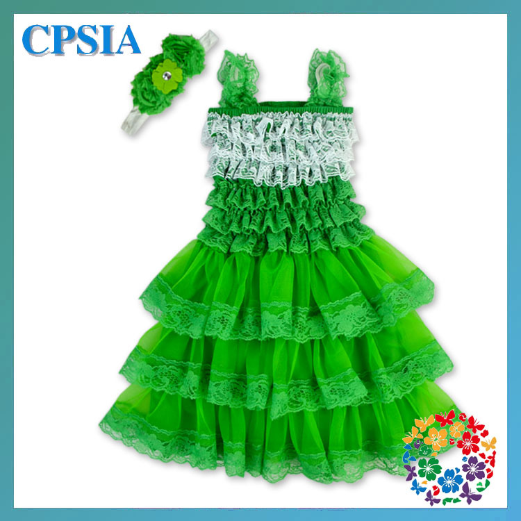 High quality Girl Petti Lace Dress White Green Beautiful Baby Dress For St.Patrick 's Day