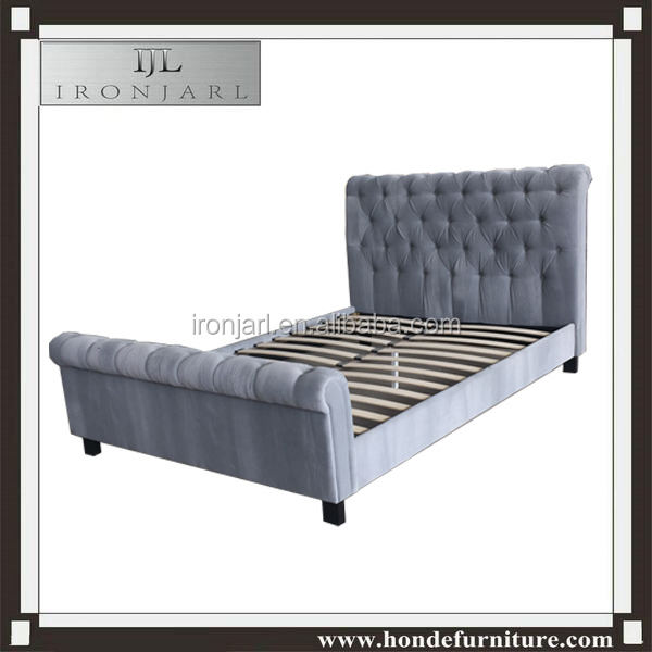 Thick headboard button tufted sleigh fabric bed